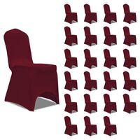 vidaXL Καλύμματα Καρέκλας Ελαστικά Μπορντό 24 τεμ.