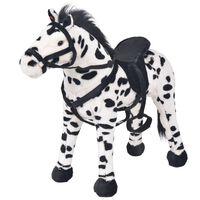 vidaXL Παιχνίδι Άλογο σε Όρθια Στάση Ασπρόμαυρο XXL Λούτρινο