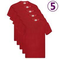 Fruit of the Loom T-shirt Original 5 τεμ. Κόκκινα XL Βαμβακερά