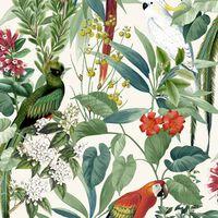 DUTCH WALLCOVERINGS Ταπετσαρία Τοίχου Τροπικά Πουλιά Λευκό / Πράσινο