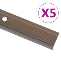 vidaXL Προφίλ για Σκαλοπάτια Σχήμα Γ 5 τεμ. Καφέ 134 εκ. Αλουμινίου