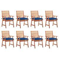 vidaXL Καρέκλες Τραπεζαρίας Εξ. Χώρου 8 τεμ. Ξύλο Ακακίας με Μαξιλάρια