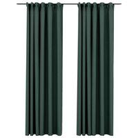 vidaXL Κουρτίνες Συσκ. με Γάντζους/'Οψη Λινού 2 τεμ Πράσινο 140x245 εκ