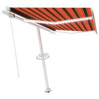 vidaXL Τέντα Συρόμενη Χειροκίνητη με LED Πορτοκαλί/Καφέ 300 x 250 εκ.