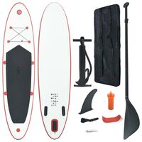 vidaXL Σετ Σανίδας Stand Up Paddle / Surf Φουσκωτό Κόκκινο και Λευκό