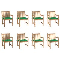 vidaXL Καρέκλες Κήπου 8 Τεμαχίων Μασίφ Ξύλο Teak με Πράσινα Μαξιλάρια