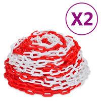 vidaXL Αλυσίδες Σήμανσης 2 τεμ. Κόκκινο/Λευκό 30 μ. Πλαστικές