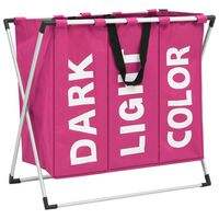 vidaXL Καλάθι Διαχωρισμού Απλύτων με 3 Τμήματα Ροζ