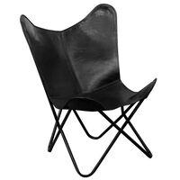 vidaXL Καρέκλα Πεταλούδα Μαύρη από Γνήσιο Δέρμα