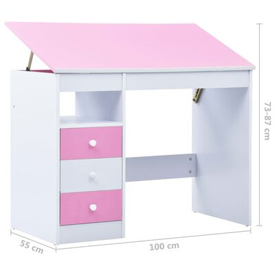 vidaXL Γραφείο Παιδικό με Ανακλινόμενη Επιφάνεια Ροζ και Λευκό