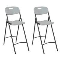 vidaXL Καρέκλες Μπαρ Πτυσσόμενες 2 τεμ. Λευκές από HDPE / Ατσάλι