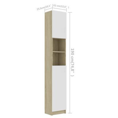 vidaXL Στήλη Μπάνιου Λευκό/Sonoma Δρυς 32x25,5x190 εκ. Μοριοσανίδα