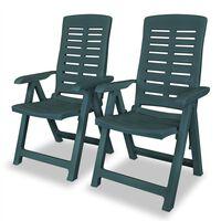 vidaXL Καρέκλες Κήπου Ανακλινόμενες 6 τεμ. Πράσινες Πλαστικές