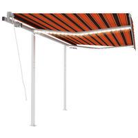 vidaXL Τέντα Αυτόματη με LED & Αισθ. Ανέμου Πορτοκαλί/Καφέ 3,5x2,5 μ.