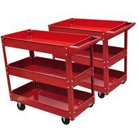 2xΦορητοί Εργαλειοφόροι με Τρία Ράφια 100 kg Κόκκινοι