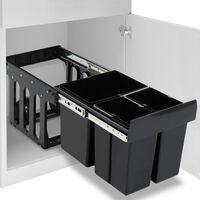vidaXL Κάδος για Ντουλάπι Κουζίνας Συρόμενος 48 Λίτρων με Soft-Close