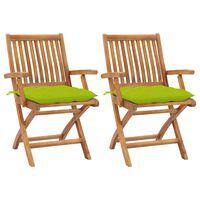 vidaXL Καρέκλες Κήπου 2 τεμ. Μασίφ Ξύλο Teak με Φωτ. Πράσινα Μαξιλάρια