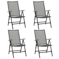 vidaXL Καρέκλες Πτυσσόμενες με Πλέγμα 4 τεμ. Ανθρακί Ατσάλινες