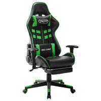 vidaXL Καρέκλα Gaming με Υποπόδιο Μαύρο / Πράσινο από Συνθετικό Δέρμα