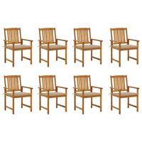 vidaXL Καρέκλες Κήπου 8 τεμ. από Μασίφ Ξύλο Ακακίας με Μαξιλάρια