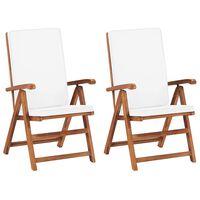 vidaXL Καρέκλες Κήπου Ανακλινόμενες 2 τεμ. Κρεμ Ξύλο Teak με Μαξιλάρια
