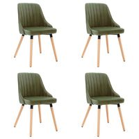 vidaXL Καρέκλες Τραπεζαρίας 4 τεμ. Ανοιχτό Πράσινο Βελούδινες