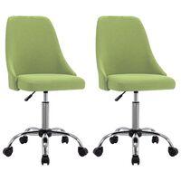 vidaXL Καρέκλες Γραφείου Τροχήλατες 2 τεμ. Πράσινες Υφασμάτινες