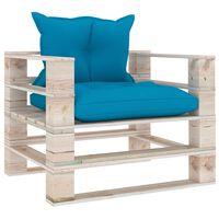 vidaXL Πολυθρόνα Κήπου από Παλέτες Ξύλο Πεύκου με Μπλε Μαξιλάρια