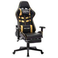 vidaXL Καρέκλα Gaming με Υποπόδιο Μαύρο/Χρυσός από Συνθετικό Δέρμα