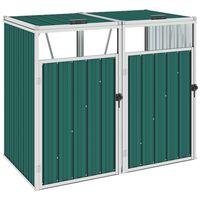 vidaXL Πλαίσιο Διπλό για Κάδους Πράσινο 143 x 81 x 121 εκ. Ατσάλινο