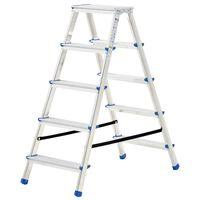 vidaXL Σκάλα Διπλή με 5 Σκαλιά 113 εκ. Αλουμινίου