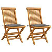 vidaXL Καρέκλες Κήπου 2 τεμ. από Μασίφ Ξύλο Teak με Γκρι Μαξιλάρια