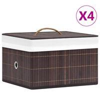 vidaXL Κουτιά Αποθήκευσης 4 τεμ. Καφέ από Μπαμπού