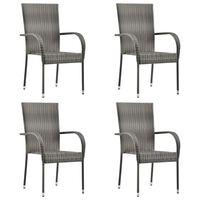 vidaXL Καρέκλες Κήπου Στοιβαζόμενες 4 τεμ. Γκρι από Συνθετικό Ρατάν