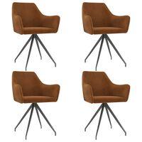 vidaXL Καρέκλες Τραπεζαρίας 4 τεμ. Καφέ Βελούδινες