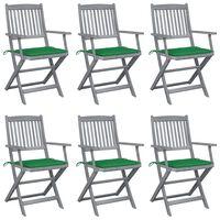 vidaXL Καρέκλες Εξωτ. Χώρου Πτυσσόμενες 6 τεμ Ξύλο Ακακίας & Μαξιλάρια