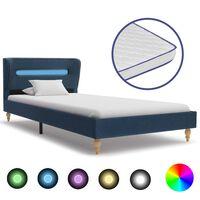 vidaXL Κρεβάτι με LED Μπλε 90 x 200 εκ. Υφασμάτινο με Στρώμα Αφρού