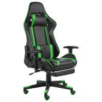 vidaXL Καρέκλα Gaming Περιστρεφόμενη με Υποπόδιο Πράσινη PVC
