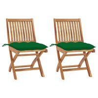 vidaXL Καρέκλες Κήπου 2 τεμ. από Μασίφ Ξύλο Teak με Πράσινα Μαξιλάρια