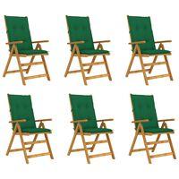 vidaXL Καρέκλες Κήπου Πτυσσόμ. 6 τεμ. Μασίφ Ξύλο Ακακίας με Μαξιλάρια