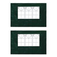 vidaXL Τοιχώματα Τέντας Εκδηλώσεων 2 τεμ. Πράσινα με Παράθυρο