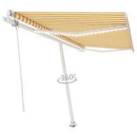 vidaXL Τέντα Αυτόματη με LED & Αισθ. Ανέμου Κίτρινο/Λευκό 400x300 εκ.