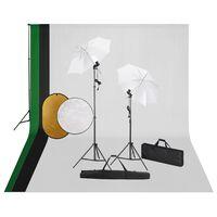 vidaXL Κιτ Φωτογραφικού Στούντιο με Λάμπες, Φόντο & Ανακλαστήρα