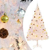 vidaXL Χριστουγεννιάτικο Δέντρο Στολισμένο με Μπάλες/LED Λευκό 210 εκ.