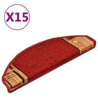 vidaXL Πατάκια Σκάλας Αυτοκόλλητα 15 τεμ. Κόκκινα 65 x 21 x 4 εκ.