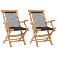 vidaXL Καρέκλες Κήπου Πτυσσόμενες 2 τεμ. Μασίφ Ξύλο Teak και Σχοινί