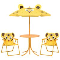 vidaXL Σετ Επίπλων Bistro Κήπου Παιδικό 3 τεμ. Κίτρινο με Ομπρέλα