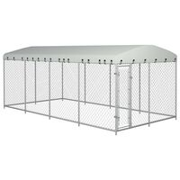vidaXL Κλουβί Σκύλου Εξωτερικού Χώρου 8 x 4 x 2 μ. με Στέγαστρο