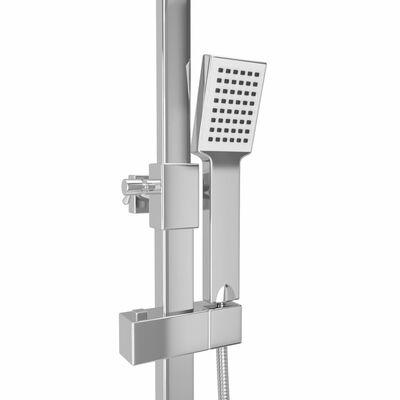 vidaXL Σετ Στήλης Ντους & Τηλέφωνο από Ανοξείδωτο Ατσάλι με Θερμοστάτη