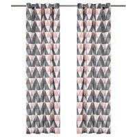 vidaXL Κουρτίνες με Κρίκους 2 τεμ. Γκρι/Ροζ 140x245 εκ. από Βαμβάκι